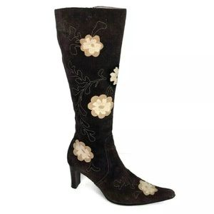 Knee High Boots 40 Brown Suede Flower Leather